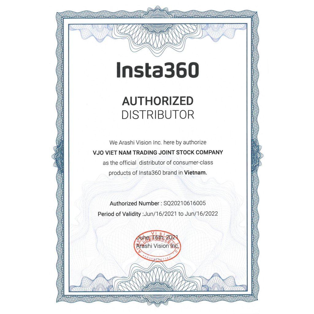 Giấy chứng nhận VJO Việt Nam là đại lý ủy quyền chính thức của Insta360 tại Việt Nam